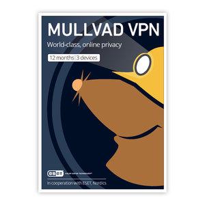 Mullvad VPN - 1 års licens för 3 enheter