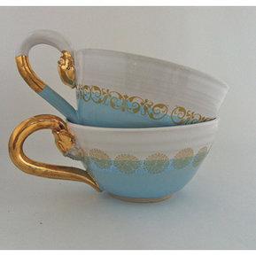 Te kopp blå/guld