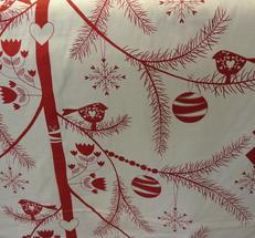 ljus botten med julträd i rött