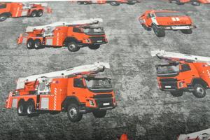 Grå botten med digitaltryckta brandbilar