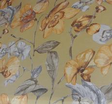 ljusbeige gul botter med blommr i gula ,bruna och grå nyanser
