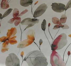 ljus botten med akvarellmålade blommor i rosa och grå toner