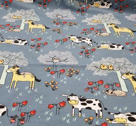 gråblå botten med kor och hästar