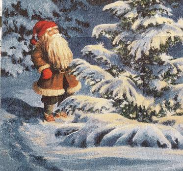 Jul gobeläng med tomte i skogen