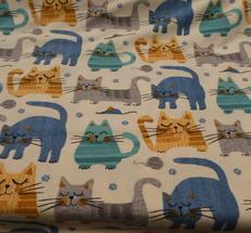 ljus botten med retro katter i turqos,blått,gult och grått