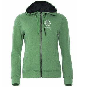 Hoodjacka Full Zip CISV Helsingborg, grönmellerad