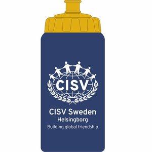 Vattenflaska  CISV Helsingborg, blå/gul