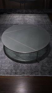 Lågt, rund glasbord