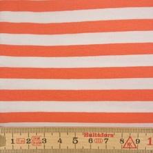 BOMULLSJERSEY RAND KORALL/VIT, 1,2 m