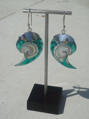 Silver örhängen som grön snäcka
