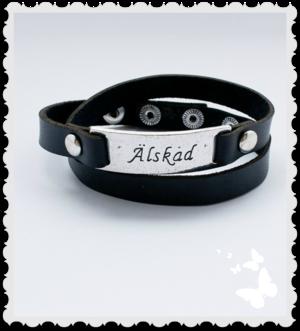 Armband i läder Älskad