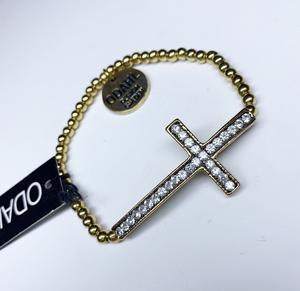 a737  Armband Bling kors i guld