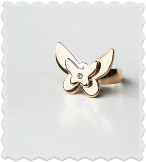 Ring som en fjäril med bling  i rose stål storlek L