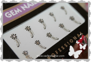 Stickers med svart blom rhinestone