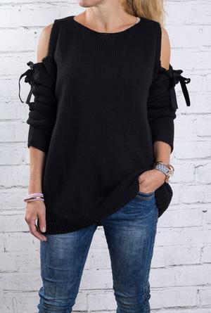 Mysig stickad tröja i svart one size S-M