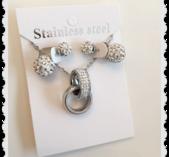 ss5 Smyckes set i stål med bling
