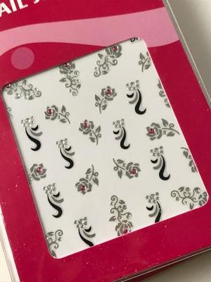 Silvriga stickers med rosa rhinestones