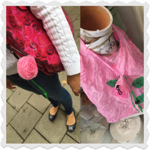 Rosa shopping bag som en ros