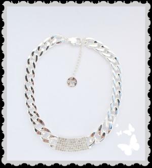 Silver halsband med bling