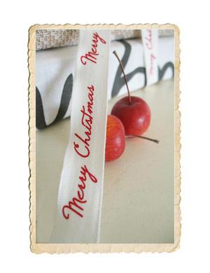 Merry Christmas tygband, svart eller röd text