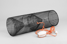 Leppefiskbur, stålnätscylinder