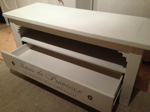 TV-bänk, sittbänk med hylla och låda
