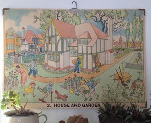 Gammal plansch HOUSE AND GARDEN i kartong