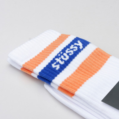 Stussy Socks Logo Jacquard White/Orange