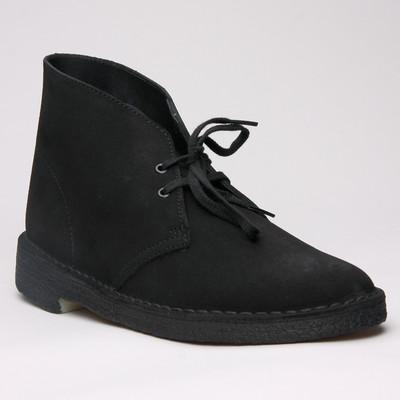 Clarks Desert Boot Black Suede Womens