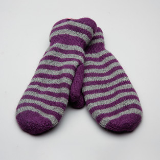 Gaucho Striped Mitt Violett/Naturgrå