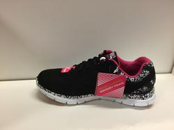 """Skechers fritidssko svart med små blommor, innersula """"Memory Foam"""" Jätteskön och fin sko."""