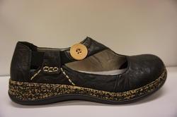 Rieker dam sko i svart skinn, mjuk skön innersula.