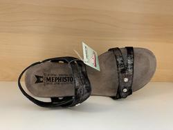 Skinnsandal,  MEPHISTO.  Air-Relax sula. svart med pärlor, kardborband. Kilklack 5 cm. Väldigt sköna.