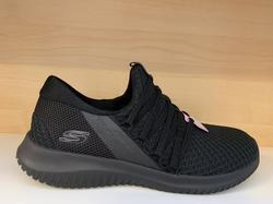 Skechers Womens  Ultra Flex, svart utan snörning. Memory Foam innersula.