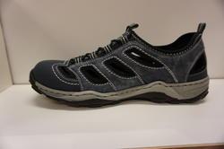 Herr sandal-sko, denim/jeans/svart. Rieker.