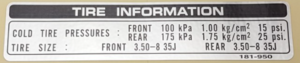 """Decal chain guard """"Tire information"""""""