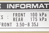 "Decal chain guard ""Tire information"""