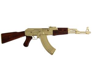 AK47 förgylld med  trästock