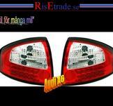 Baklampor med LED ljus. Audi A6 4B C5 / Rödvit