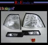 Front- och sidoblinkers i silver till BMW E36 4d sedan