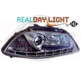 Seat..DRL = day running light.  Strålkastare med parkeringsljus i slinga...Ett par designstrålkastare