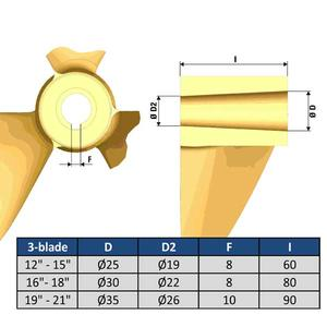 """3-Bladig Propeller typ B 20"""" Ø 35mm"""