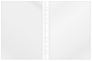 Ficka dubbel/omslag A4 i transp. 0,17 PP, vit rygg