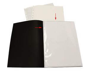 Displayficka A4 0,30 vit pp med 10 st insvetsade fickor(öppen kort+1/3 långsida)