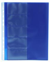 5-fliksficka A4 i 0,17 blå transparent präglad pp
