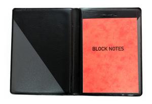 Blockomslag A7 PP svart, transparent snedficka på sid 2 & 3 (exkl. block)
