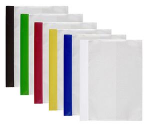 Offertmapp A4, dubbel framsida & rak ficka sid 3 i transp. präglad pp, blå rygg. Mont. mek