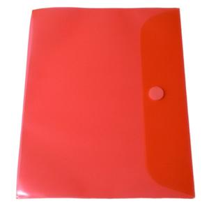 Portföljmapp A4 PP transp. röd med kardborre