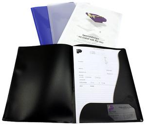 Mapp 2-klaff/offert A4 PP svart 0,30 med ficka, visitkortssnitt + mekhål