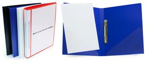 Pärm A4 0,8 röd pp, 25 mm rygg med ficka framsida + rygg, 20 mm triomek, snedficka på sida 2 & 3